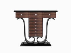 glossy, art, deco, design, style, style, makassar, wood, piano lacquer, chrome, floral, reproduction, living room, warm, console, console table