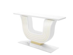 white, curved, design, replica, brass, art, deco, style, console, console table, applique, piano lacquer, living, room, elegant