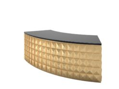 leaf, gold, piano lacquer, design, desk, check, front, diamond, black, gold, curved, office, elegant, living, elegant, individual
