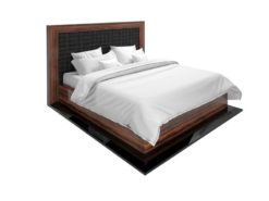 replica, art, deco, style, style, piano lacquer, makassar, wood, bed, leather, sleeping bed, bedroom, lacquer, noble, elegant