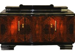 Original 1920s Art Deco Sideboard Burl Wood with Brass Handles, Deisgn furniture, antiques, french furniture, art deco design, luxurious furniture, storage