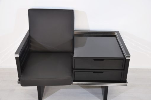 Pair of Art Deco Design Armchairs with Chromebars and Drawers, custom furniture, design furniture, interior design, luxury items, leather