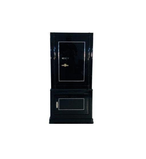 1930s black lacquer vault, safe, antique furniture, art deco, luxury items, switzerland, restoration, interior design, one of a kind