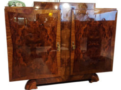 1930s French Art Deco Bookmatched Burlwood Server or Commode in High Gloss, Walnut Wood, design furniture, luxury furniture, art deco originals