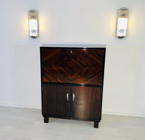 1925 Art Deco Macassar Secretary from Germany - High Gloss Finish, birdseye maple, luxury furniture, art deco furniture, art deco desk