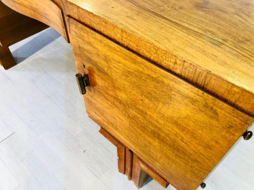 French Art Deco Desk made of walnut Wood Brass Handles, 1920s France, original antique furniture, art deco desk, new art deco furniture