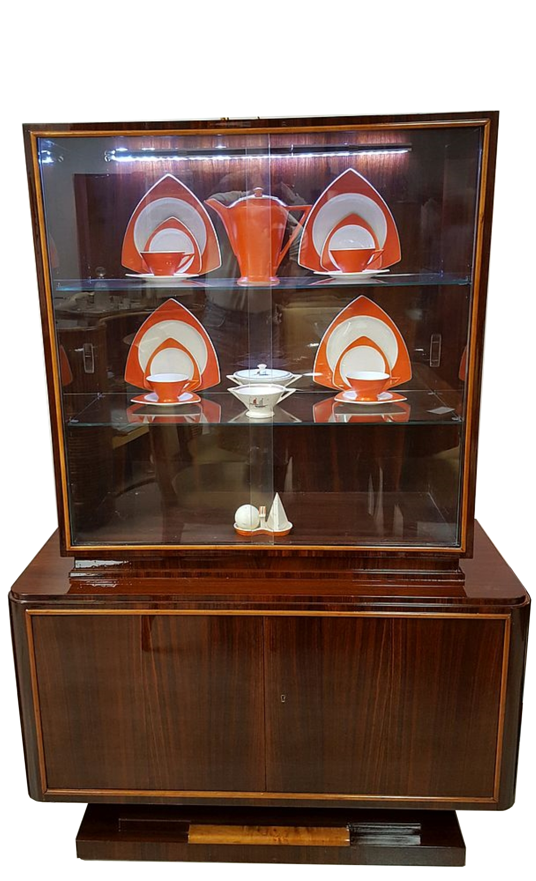 1930s French Art Deco China Cabinet In Style Of Ruhlmann Original Antique Furniture