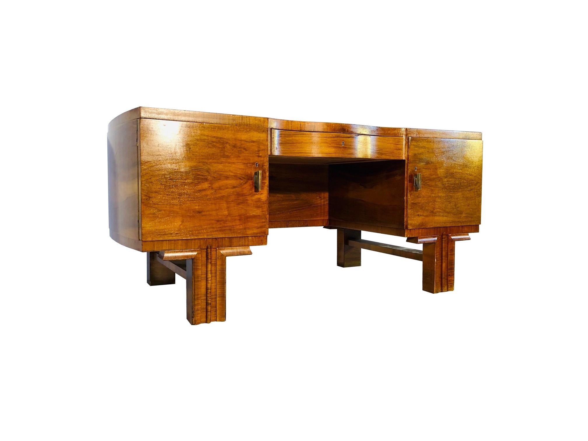 French Art Deco Desk Made Of Walnut Wood Brass Handles Original