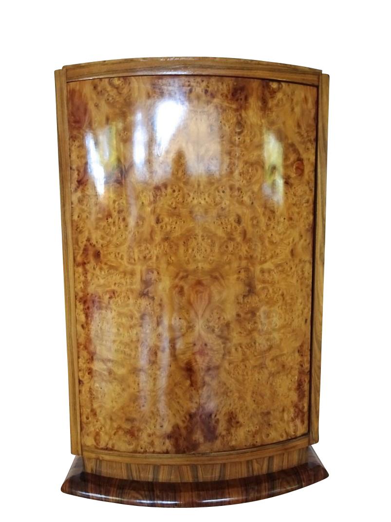 Round Elm Burl Art Deco Bar Cabinet 1930s Original Antique Furniture