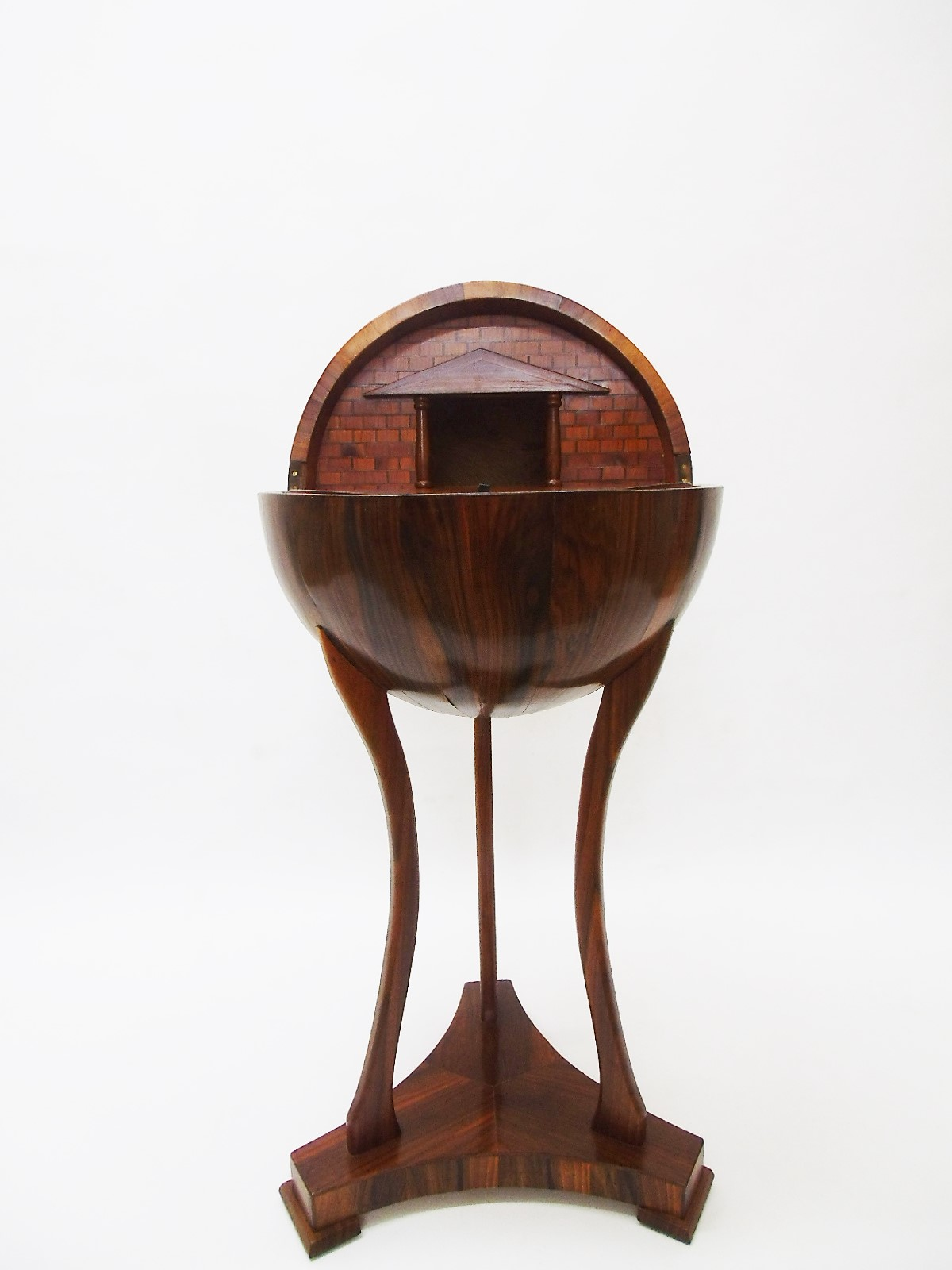 Globe Sewing Table Biedermeier Style Made Of Walnut Bar Side