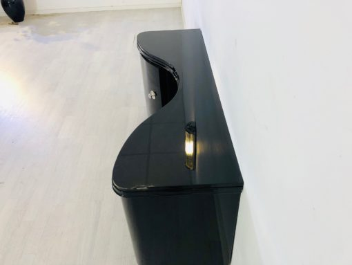 Curved Art Deco Commode in High Gloss Black, modern art deco furniture, interior design, high gloss black furniture, restoration, luxury furniture