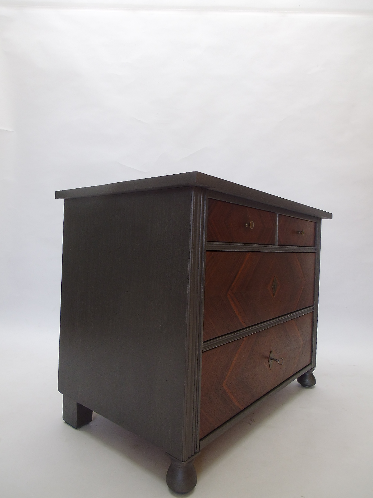 Miraculous Art Deco Chest Of Drawers With A Grey And Walnut Finish Creativecarmelina Interior Chair Design Creativecarmelinacom
