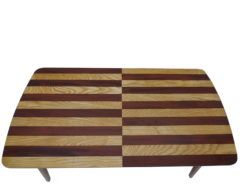 Striped Art Deco Dining Table made of Mahogany and Oak Wood, striped dining table, design furniture, interior desing, modern Art Deco furniture