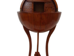 Biedermeier Style Bar Table with a Globe Shape Cherry Wood, globe bar, classic design, interior design, luxury furniture, serving table, home decor