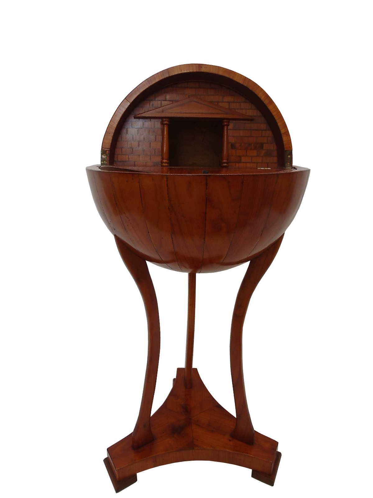Table With A Globe Shape Cherry Wood