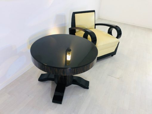 Round Art Deco Macassar and Piano Lacquer Coffee Table, antique side table, macassar wood, interior design, modern art deco furniture, luxury