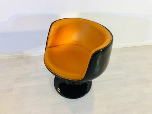 Vintage 1960s Design Armchair in Black Cognac, Chiar, Design Chair, Furniture, Luxury Furniture, Leather, Cognac Color, High Gloss Furniture