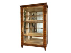1840s Biedermeier Era Vitrine or Bookcase with Glass Panels and Walnut Wood, Biedermeier Era, Vitrine, Bookcase, Walnut Wood