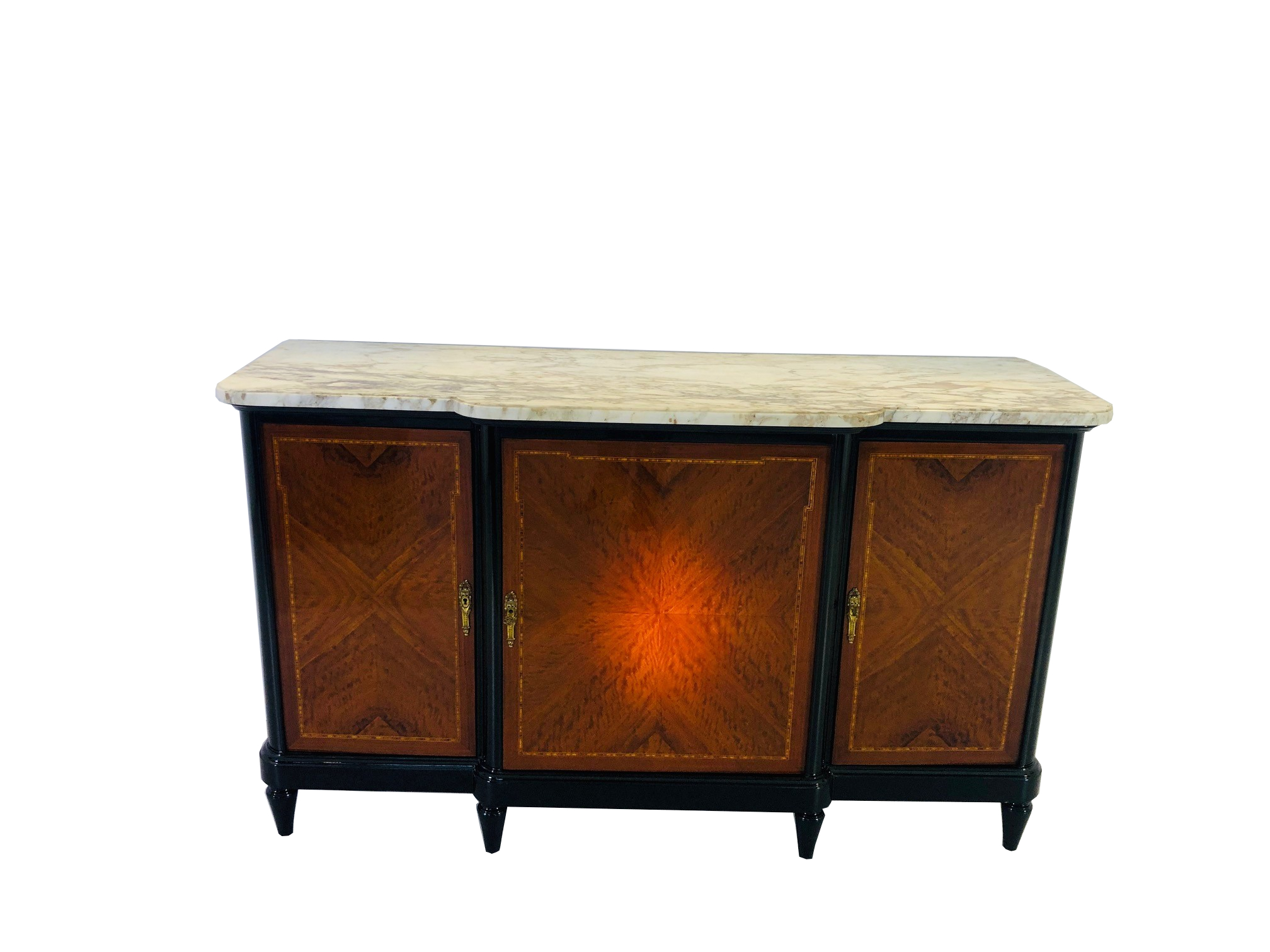 18th Century Louis Seize Sideboard Or Commode With A White Marble Top Buffet Interior