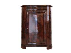 Restored Biedermeier Corner Cupboard with Stunning Dark Brown Walnut Burl, Biedermeier Furniture, Commode, Burl Wood, Corner Cupboard