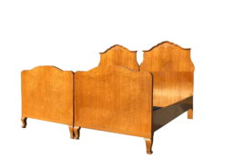 Original Art Deco Double Bed with Curved Backrest, Original Art Deco, Antique Furniture, Antique Bed, Curved Backrest, Double Bed, Art Deco Bed