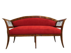 Original Restored Antique Biedermeier Sofa Walnut with Red Fabric Upholstery, Biedermeier Sofa, Biedermeier Couch, Red Velvet Fabric, Original Biedermeier
