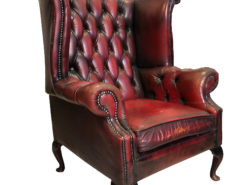 Exclusive Chesterfield Living Room Set in Antique Red Leather, Chesterfield Armchair, Chesterfield Sofa, Original Chesterfield