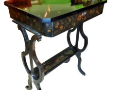Biedermeier Sewing Table, circa 1830 with Floral Paintings, Original Biedermeier, Antique Sewing Table, Lyra Shape, Sewing Table Mirror