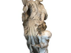 Baroque Statue Angel and Child Figure Stone and Wood, Statue Rome, 19th Century, Eduard Rettenbacher, Baroque Figure, Antique Statue, Original from Italy