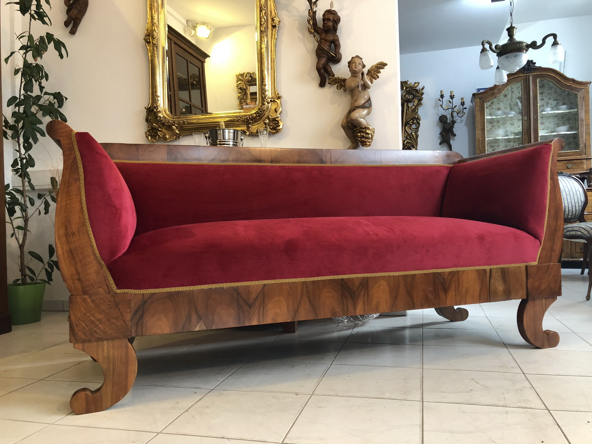 Restored Original Biedermeier Sofa Made of Walnut, Red Velvet