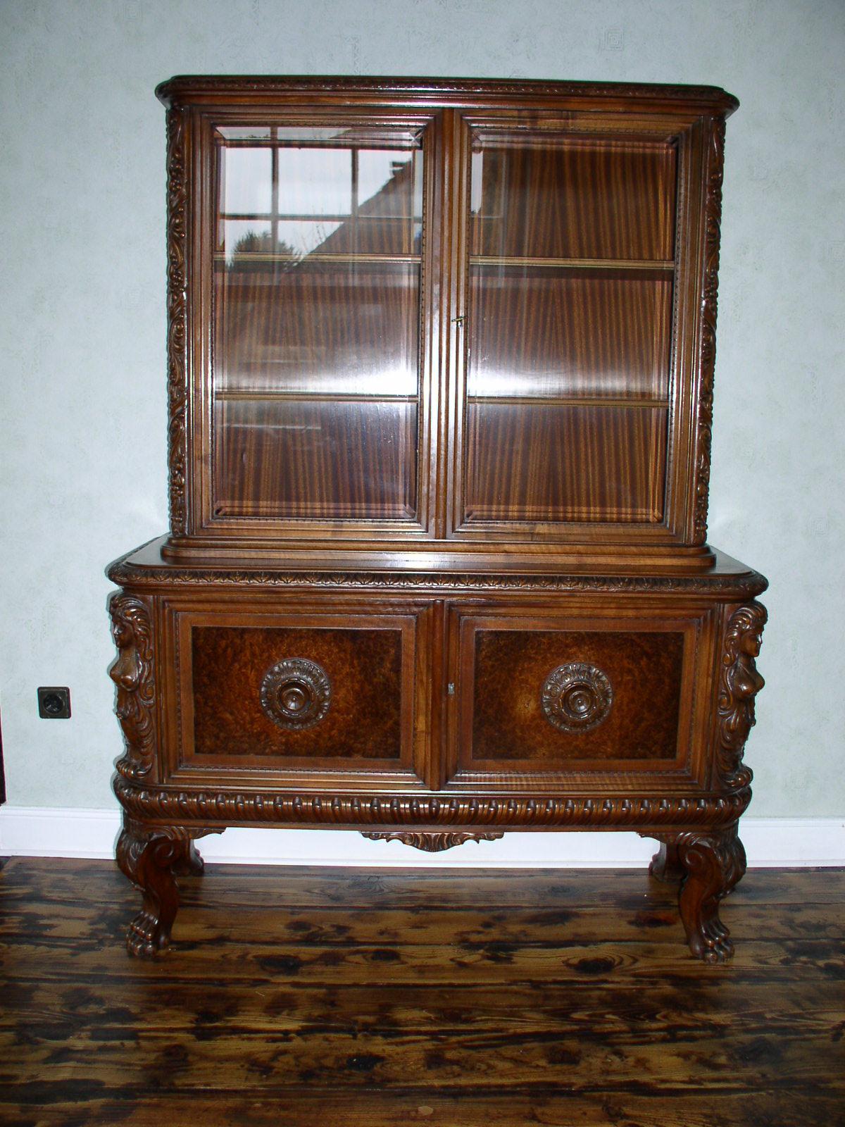 Vintage Furniture Glass Living Room Showcase Design Wood: Antique Living Room Set From Germany Around 1900