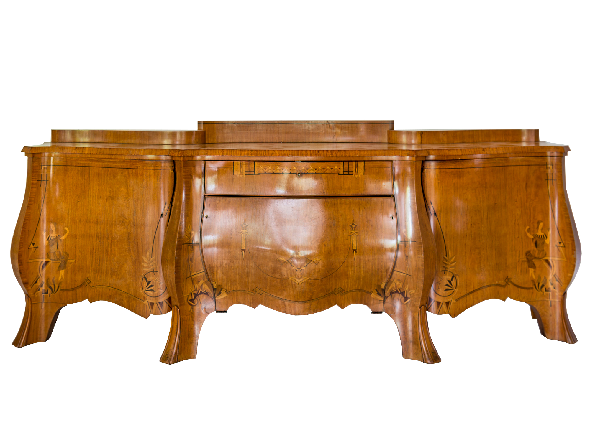 Rare 1920s Curved Art Deco Sideboard with Floral Motifs