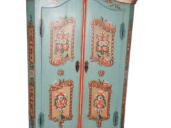 Late Biedermeier Farmers Cabinet with Floral Paintings, German Farmer Cabinet, Antique Cabinet, 1880, Painting, Antique Furniture, Storage Furniture