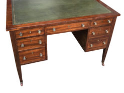 American Mahogany Desk with Leather and Gold Edge