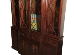 Arts & Crafts Mahogany Glass Display Cabinet with Beautiful Inlays, Atrs & Crafts Vitrine, Antique Display Cabinet, Original Arts & Crafts
