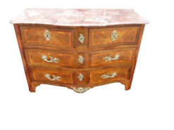 Curved Antique Baroque Chest of Drawers with Marble Top 1780s, Baroque Commode, Antique Commode, Original Baroque, Commode with Marble Top