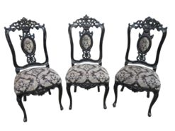 Three Pieces in Baroque Style Chairs circa 1900, Antique Chairs, Original Baroque Furniture, Black Baroque Chairs, Black Furniture