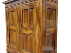 Walnut Wood Antique Biedermeier Hall Cabinet with Stunning Grain, Biedermeier Cupboard, Antique Hall Cabinet, Biedermeier Furniture, Walnut Furniture