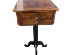 Biedermeier Sewing Table Veneered with Walnut Wood, Biedemeier Sidetable, Original Biedermeier Furniture, Antique Sewing Table
