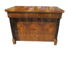 Hand Polished Nutwood Biedermeier Commode with Columns, Biedermeier Chest Of Drawers, Antique Commode, Antique Chest of Drawers