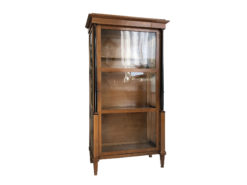 Late Biedermeier Column Vitrine Bookcase Cherrywood, Biedermier Display Cabinet, Antique Display Cabinet, Ebonized Columns
