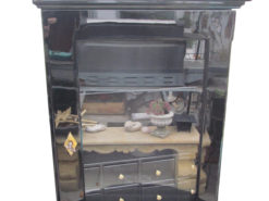 1860s Biedermeier Wall Cabinet Finished in High Gloss Black, Biedermeier Furniture, Antique Wall Cabinet, Antique Black, Biedermeier Display Cabinet