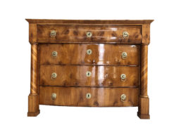 1820s Empire Era Burl Commode with Marquetry Works, Burl Commode, Empire Chest of Drawers, Antique Commode, Shellac Chest of Drawers