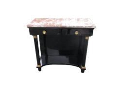 Empire Style Console Table in High Gloss Black with Red Marble Top, Empire Side Tabel, Original Empire, Antique Console Table