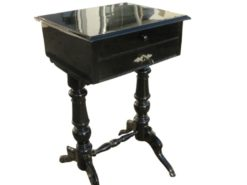 Black Lacquered Gründerzeit Sewing Table circa 1890, Grüberzeit Sidetable, Gründerzeit Furniture, Original Gründerzeit, Antique Sewing Table