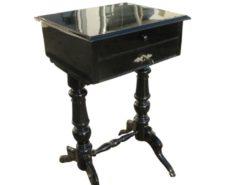 Black Lacquered Gründerzeit Sewing Table circa 1890, Grüberzeit Sidetable, Gründerzeit Furniture, Original Gründerzeit, Antique Sewing Table