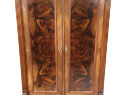 German Walnut Burl Wood Gründerzeit Cabinet, Gründerzeit Cupboard, Antique Cabinet, Antique Cupboard, German Furniture, Original Gründerzeit