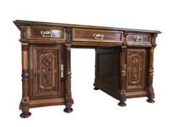Neoclassical Gründerzeit Writing Table with Columns, 1870s, Grunderzeit Desk, Antique Desk, Gründerzeit Secretary, Antique Secretary