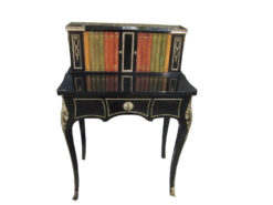 Napoleon III Style Ladies Desk in High Gloss Black with Bookshelf, Napoleon Furniture, Ladies Writing Table, Ladies Secretary