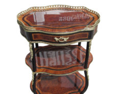 Napoleon III Style Side Table or Etagere Made of Walnut and Palisander, Napoleon Furniture, Brass Ornamentations, Palisander Wood